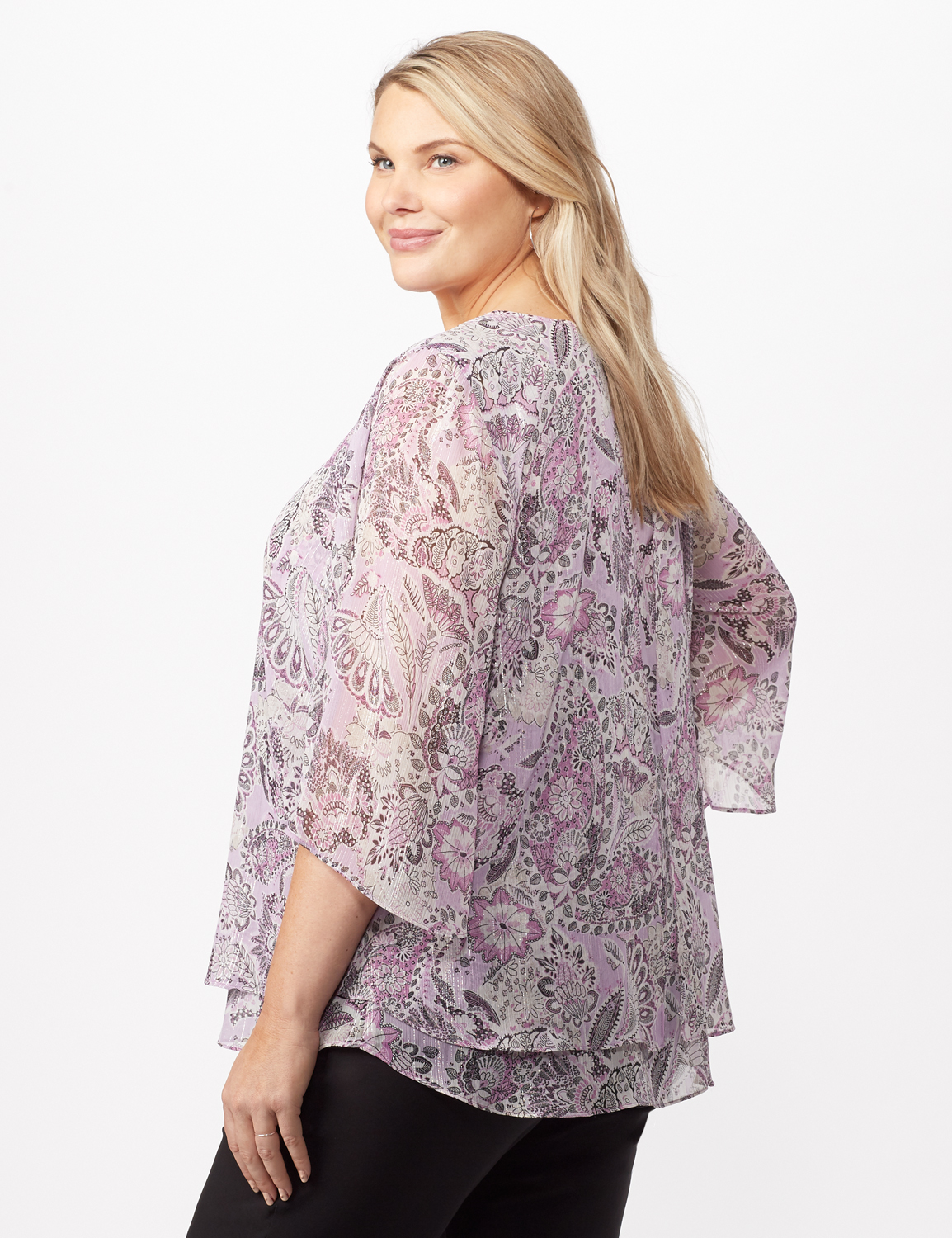 Paisley Floral Double Layer Poncho -Purple - Back