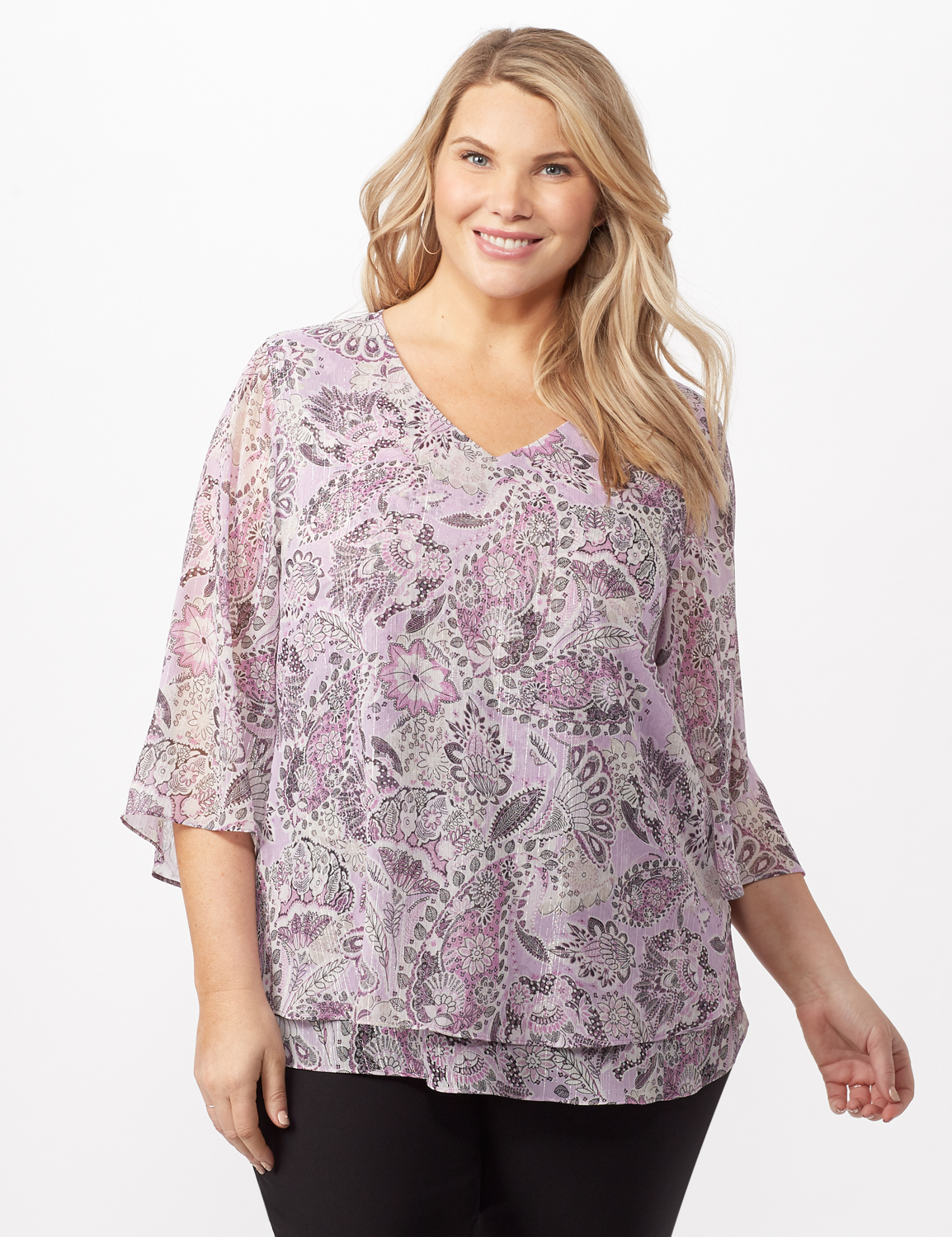 Paisley Floral Double Layer Poncho -Purple - Front