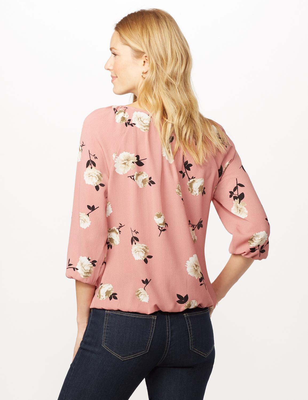 Floral Elastic Hem Woven Top -Pink - Back