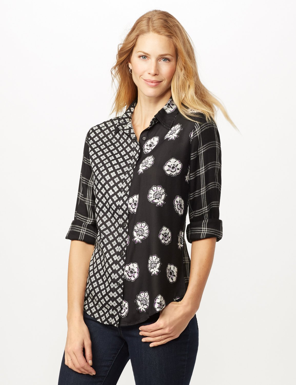 Long Sleeve Mixed Media Print Woven Top -Black/grey - Front