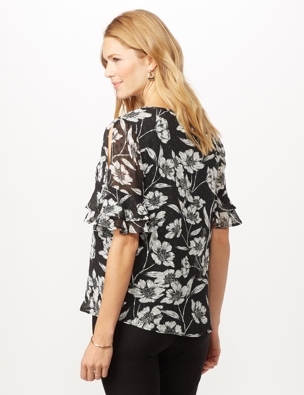 Floral Clip Dot Woven Top -Black/white - Back