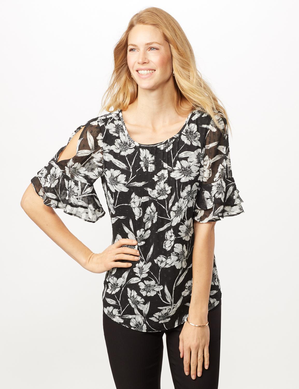Floral Clip Dot Woven Top -Black/white - Front