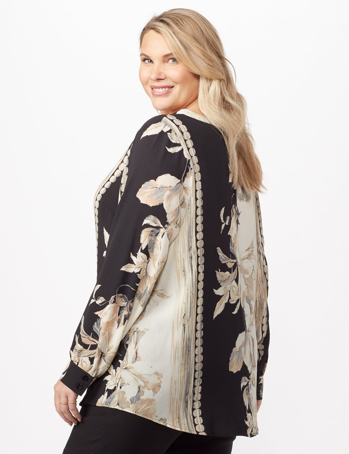 Long Sleeve Placed Floral Woven Top -Neutral - Back