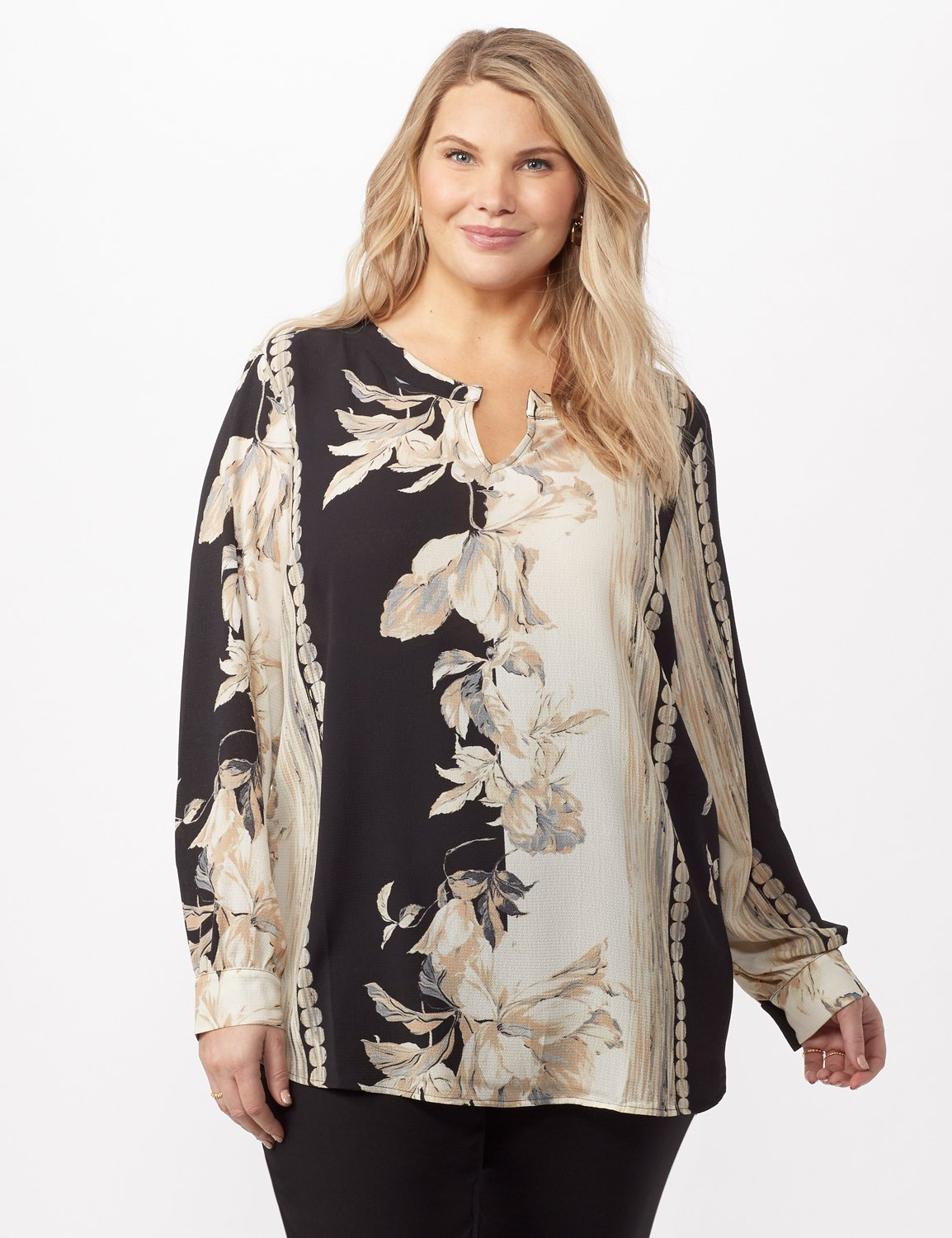 Long Sleeve Placed Floral Woven Top -Neutral - Front