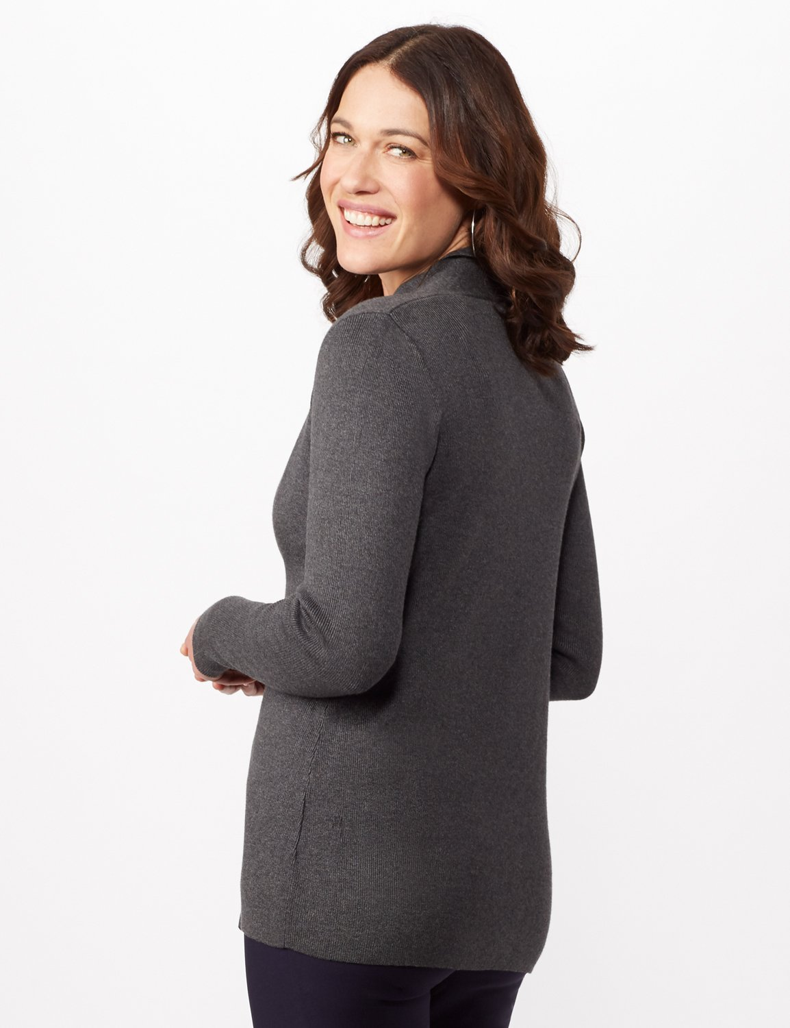 Long Sleeve Scalloped Cardigan -Heather Charcoal - Back