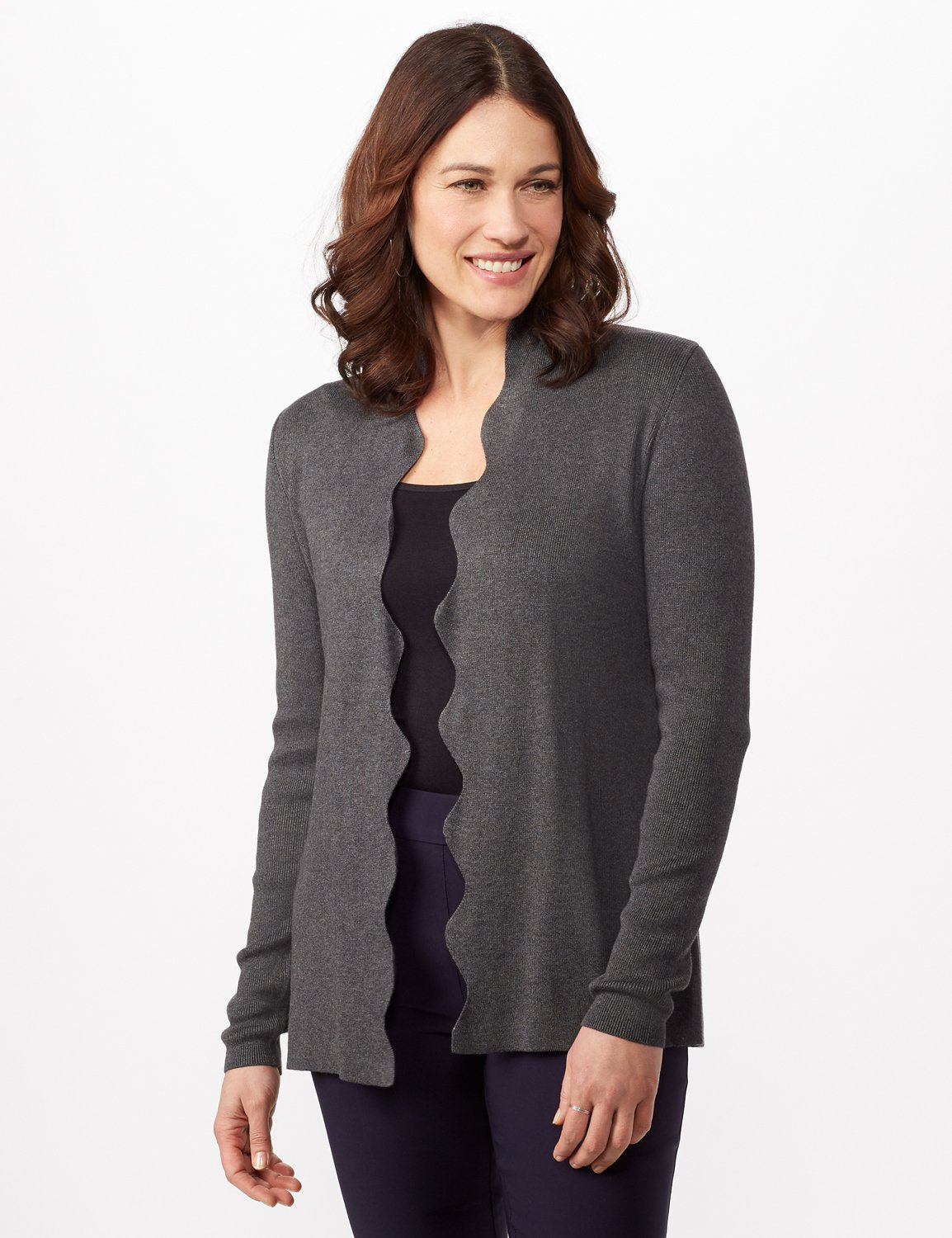Long Sleeve Scalloped Cardigan -Heather Charcoal - Front