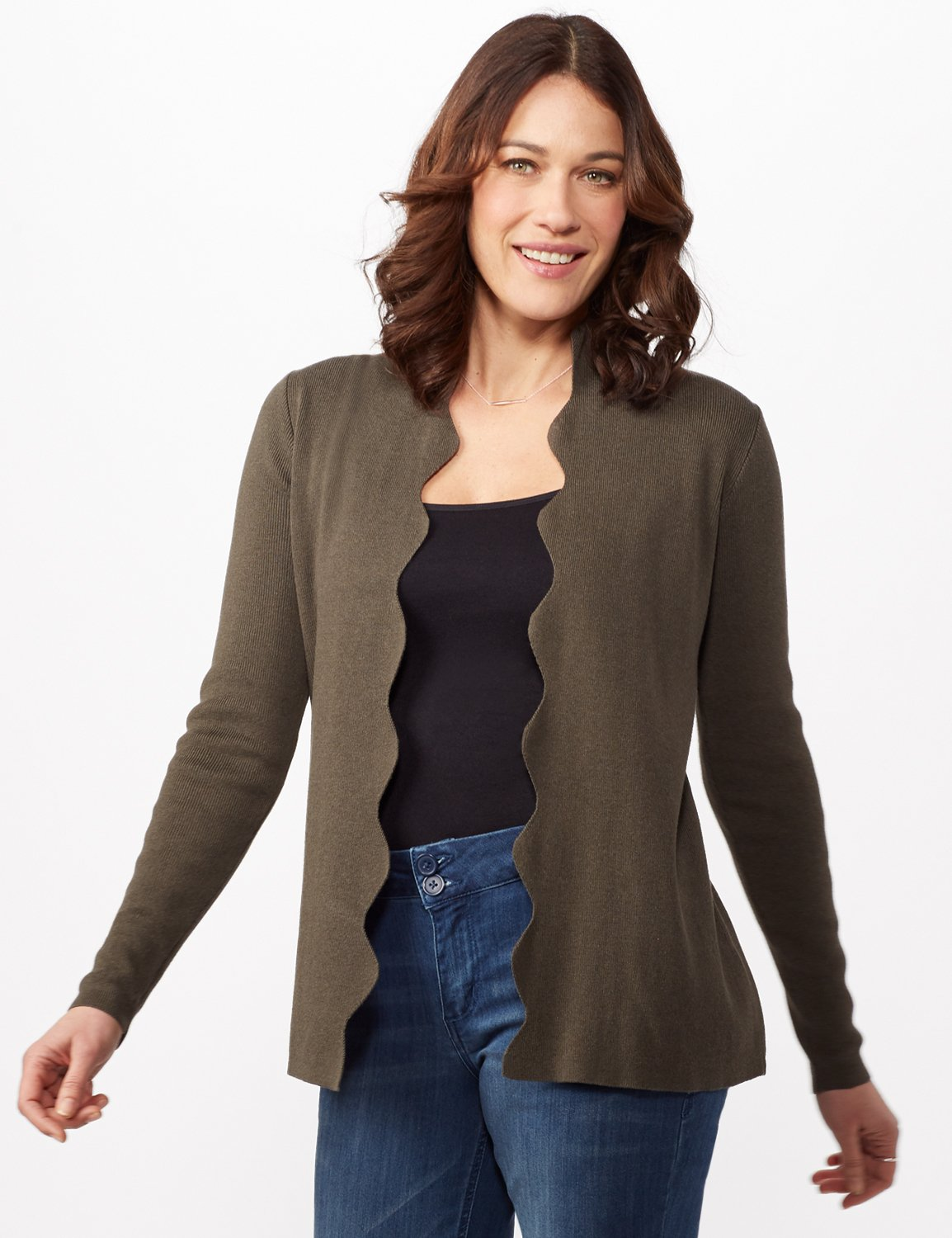 Long Sleeve Scalloped Cardigan -Shaded Moss - Front