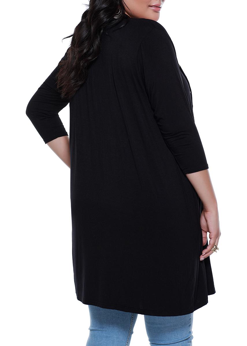 3/4 Sleeve Grommet Cardigan -Black - Back