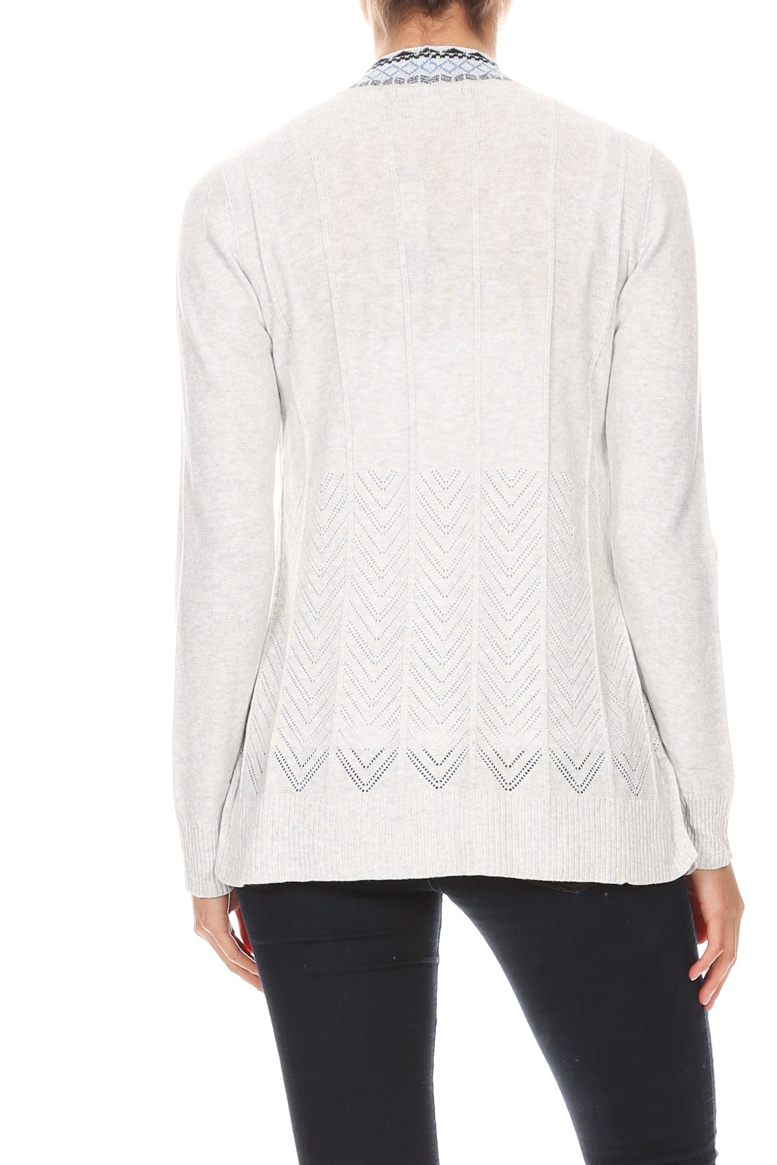 Embroidered Placket Cardigan with Pointelle Detail -Heather Grey - Back