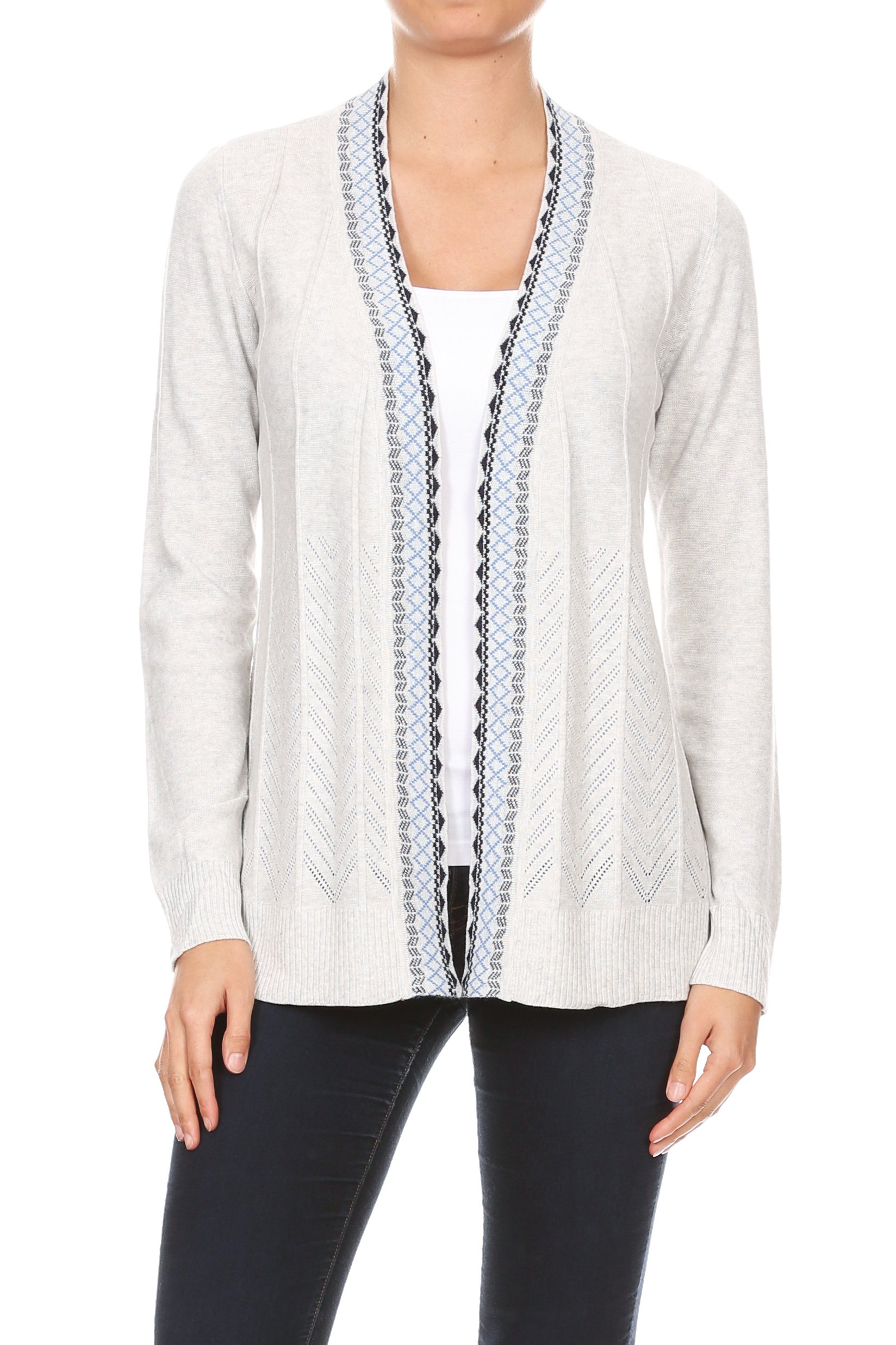 Embroidered Placket Cardigan with Pointelle Detail -Heather Grey - Front