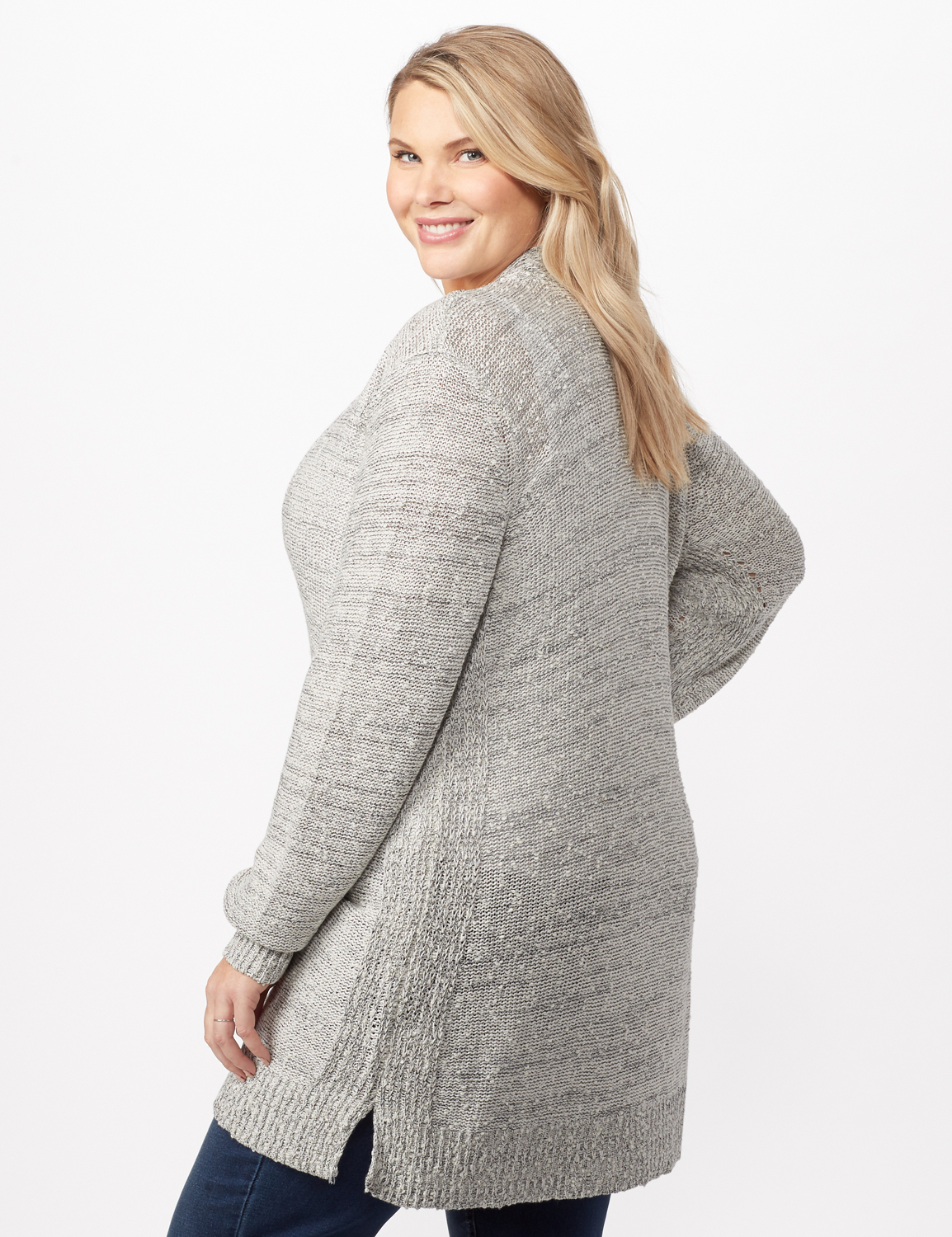 Textured Cardigan with Pointelle Detail -Ivory/black - Back