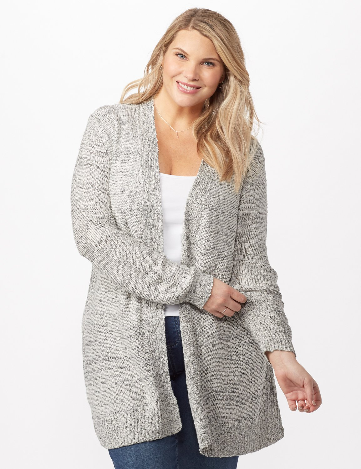 Textured Cardigan with Pointelle Detail - Plus -Ivory/black - Front
