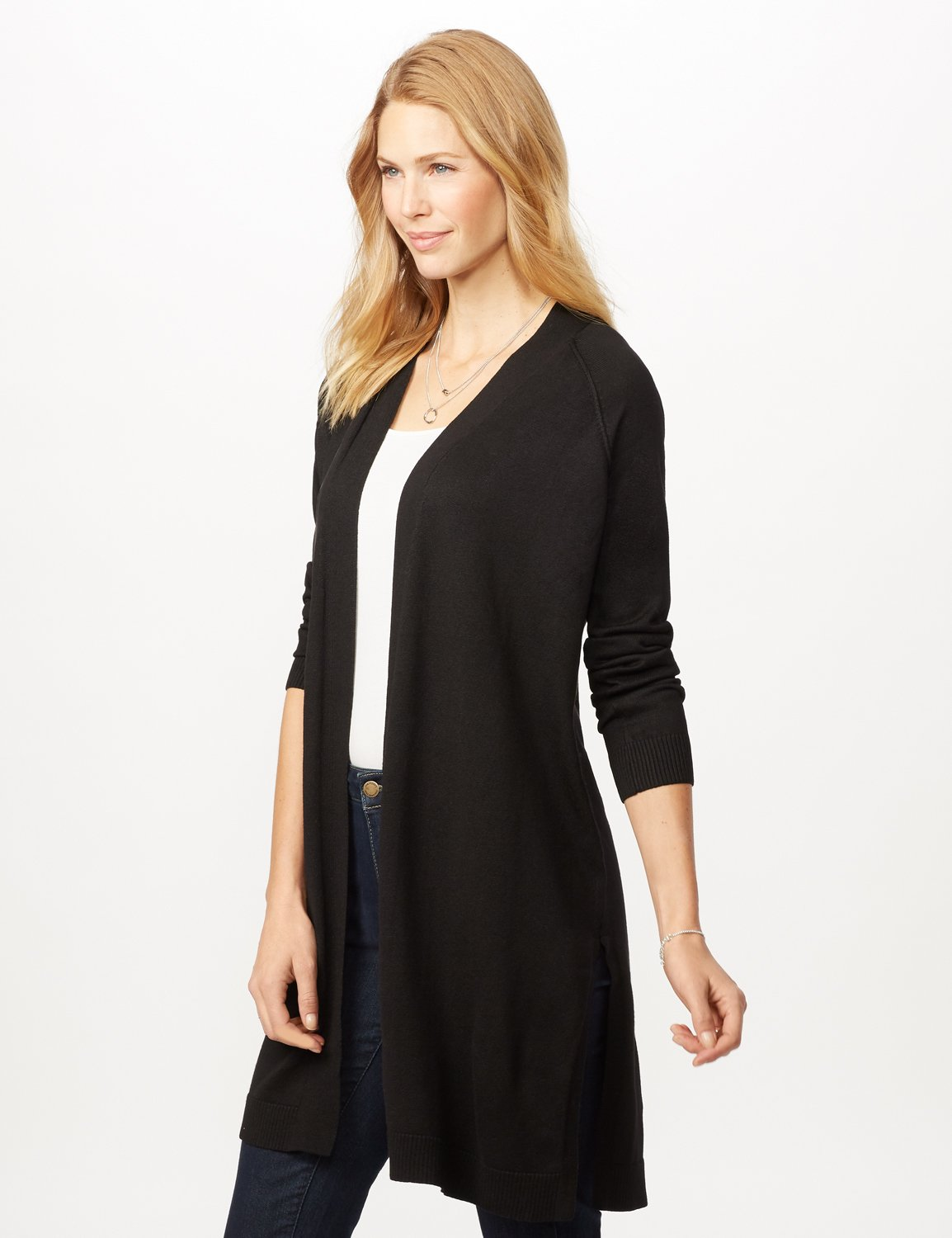 Long Sleeve Duster with Side Slits - Black - Detail