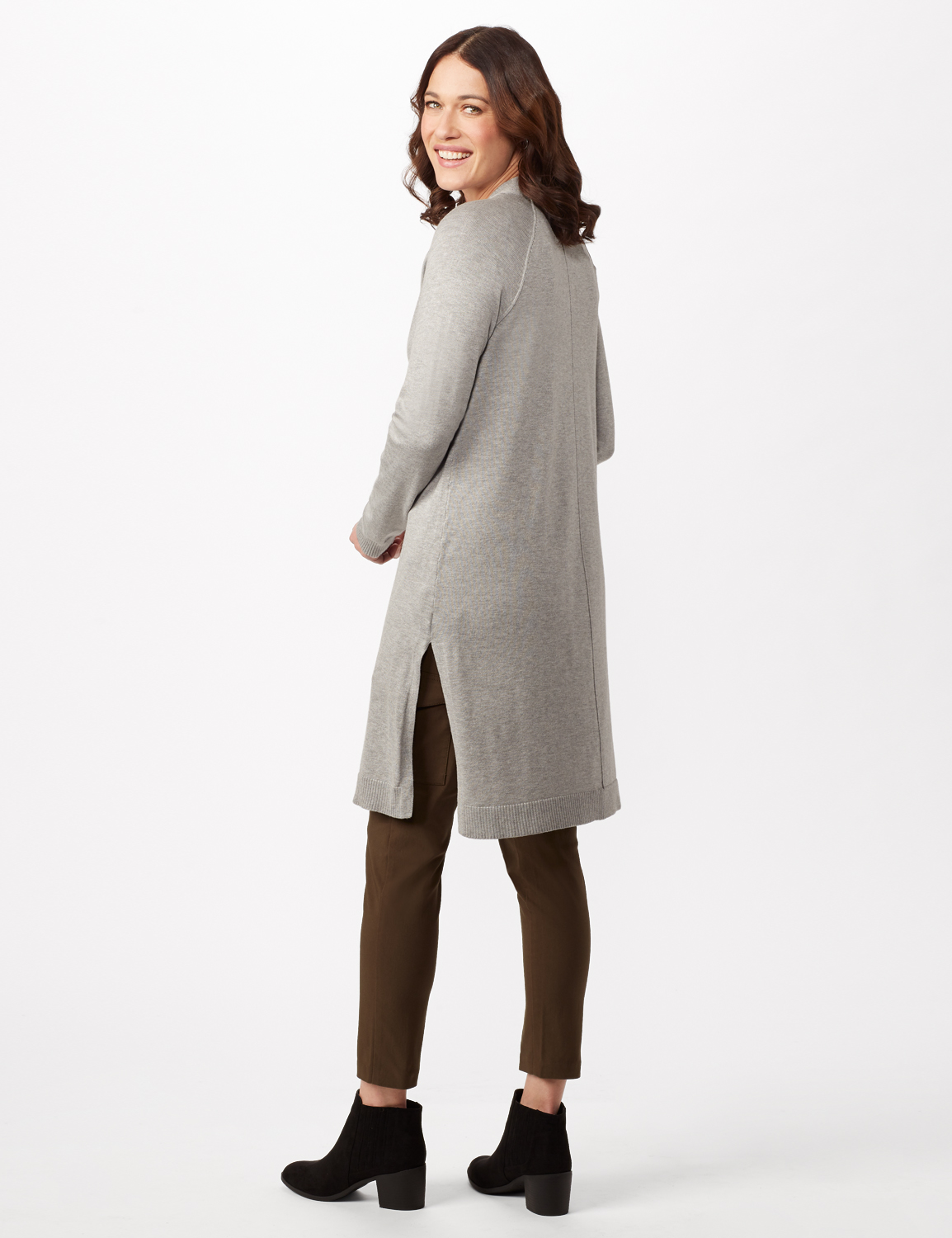 Long Sleeve Duster with Side Slits -Heather Grey - Back