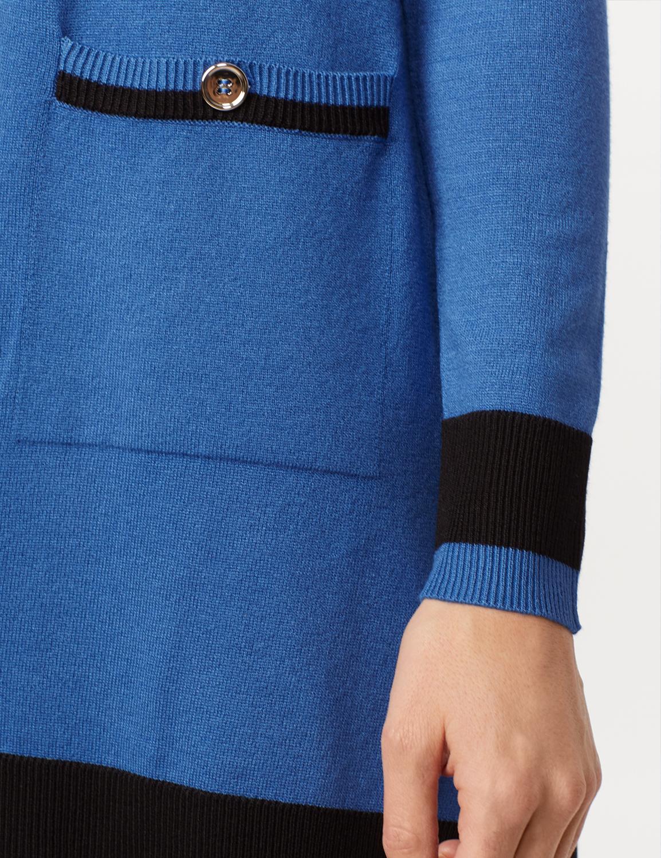 Long Sleeve Color Block Duster - Royal/black - Detail