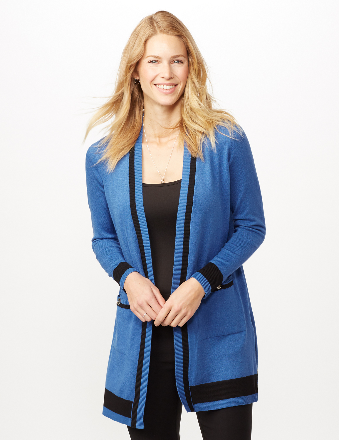 Long Sleeve Color Block Duster -Royal/black - Front