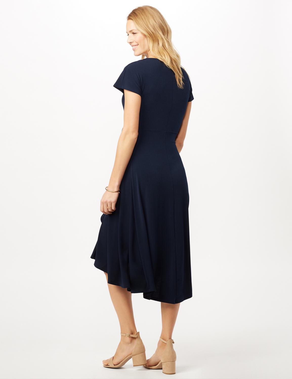 Stretch Crepe Tie Waist Hi-Lo Dress -Navy - Back