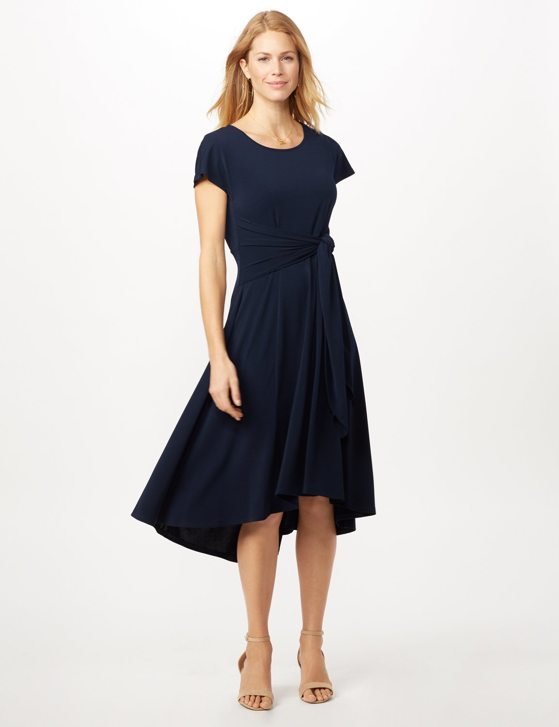 Stretch Crepe Tie Waist Hi-Lo Dress -Navy - Front