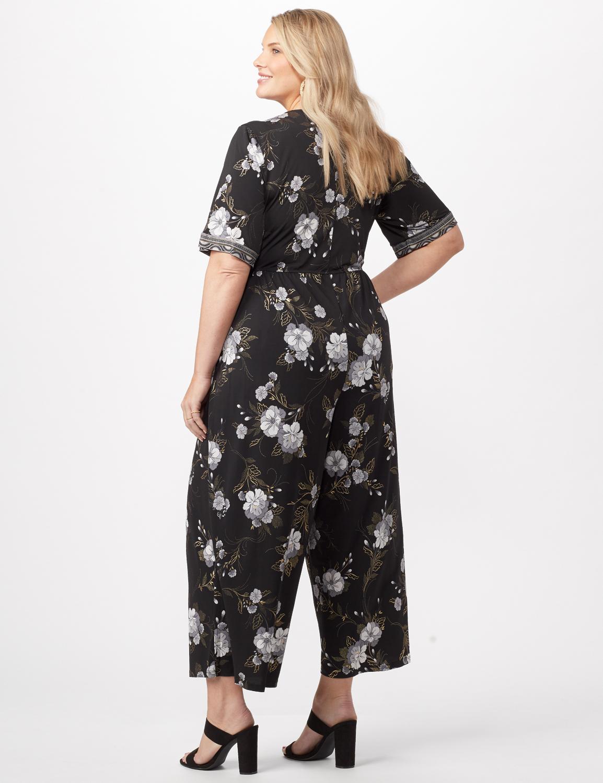 Floral Border Jumpsuit Plus -Black/grey - Back