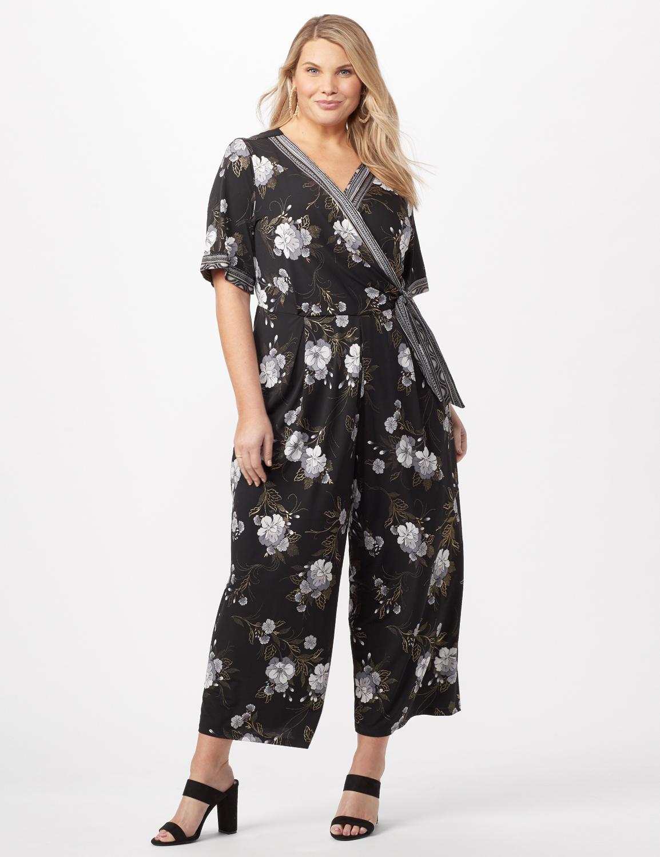 Floral Border Jumpsuit Plus -Black/grey - Front