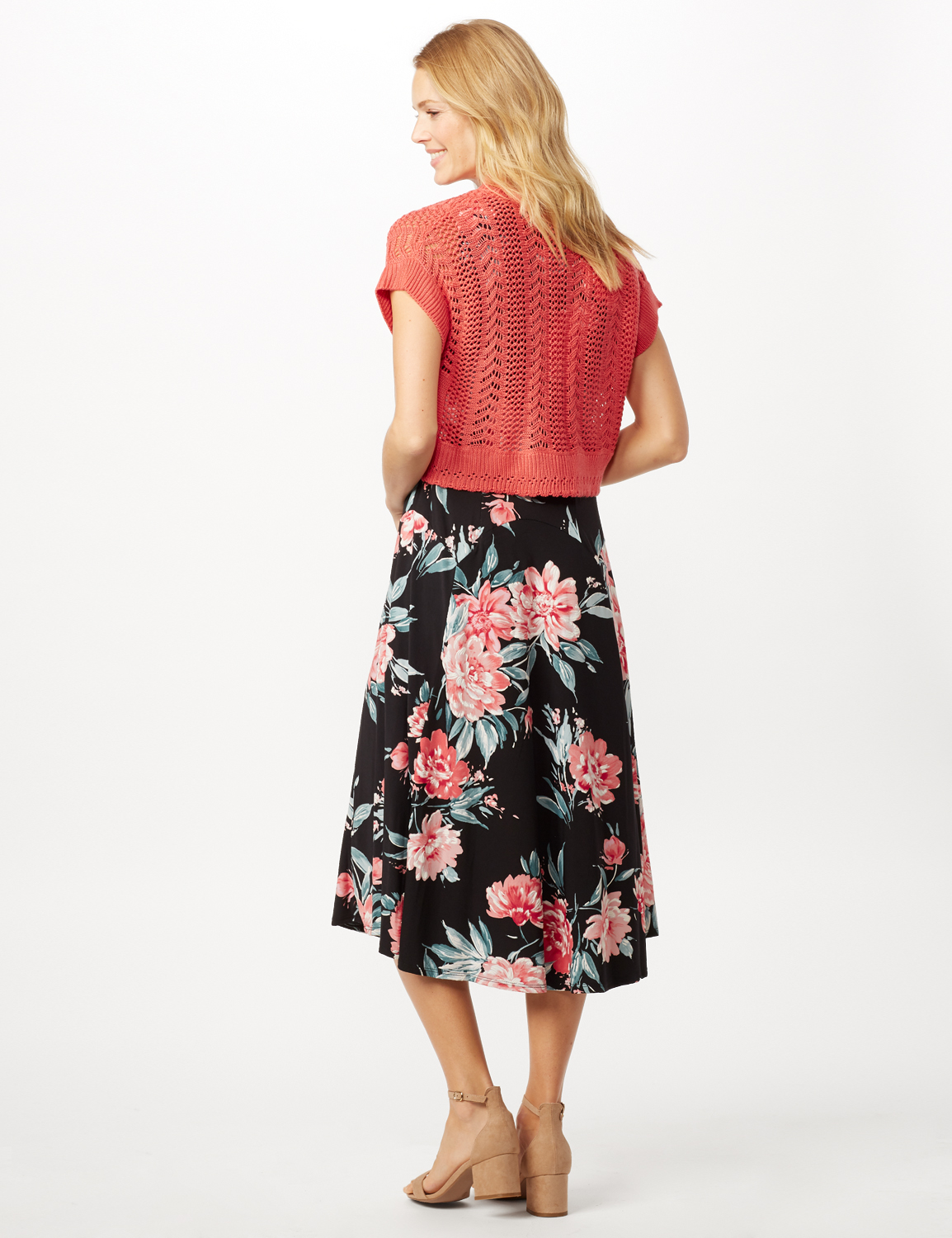 Floral Dress with Crochet Sweater -Navy/pink - Back