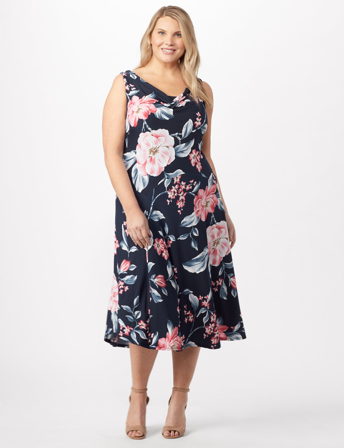 Floral Dress with Crochet Sweater Plus - Navy/pink - Detail