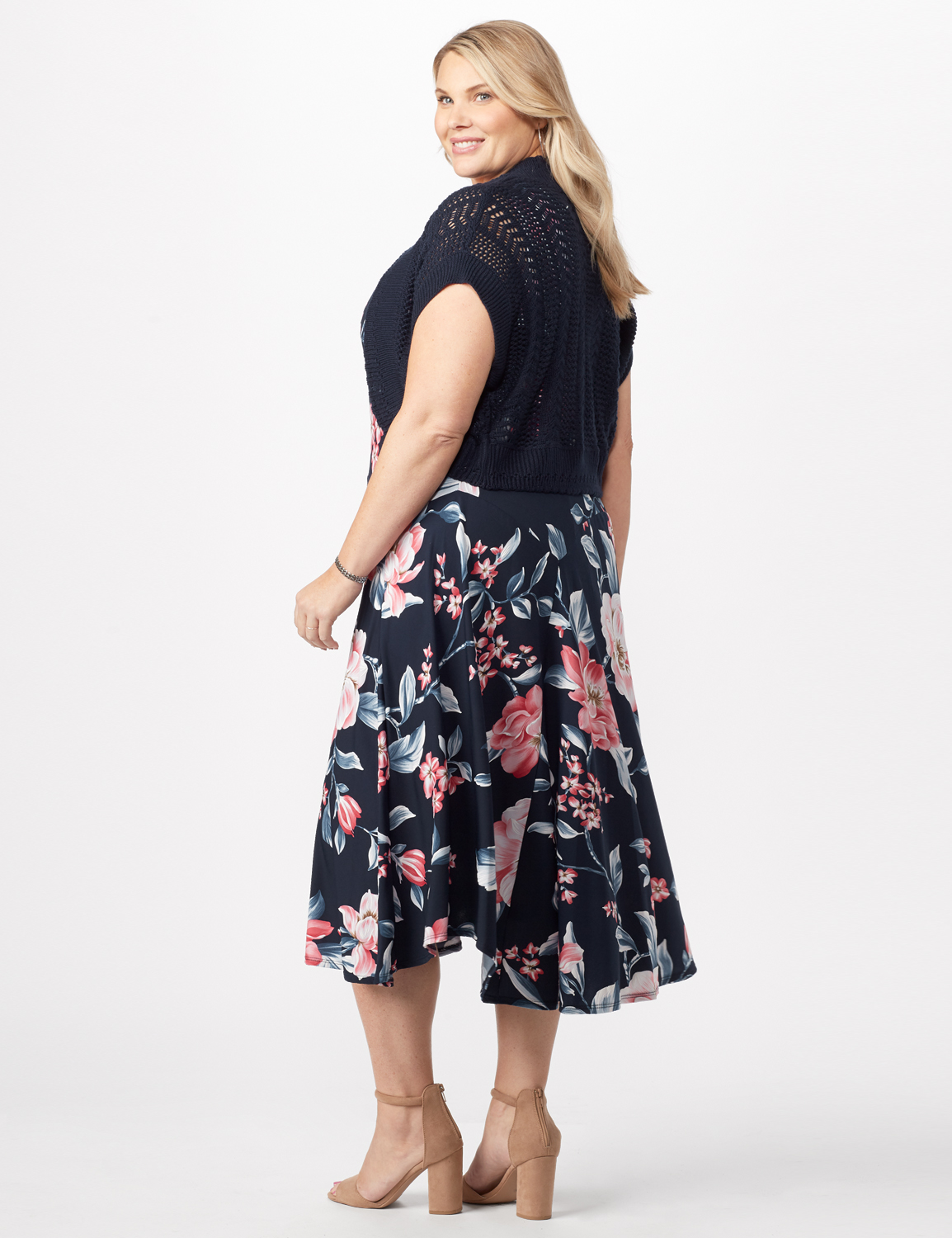 Floral Dress with Crochet Sweater Plus -Navy/pink - Back