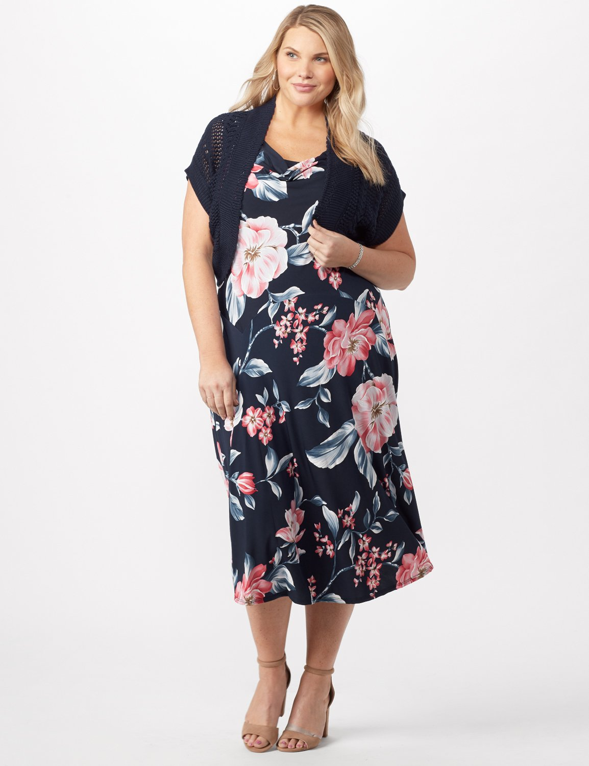 Floral Dress with Crochet Sweater Plus -Navy/pink - Front