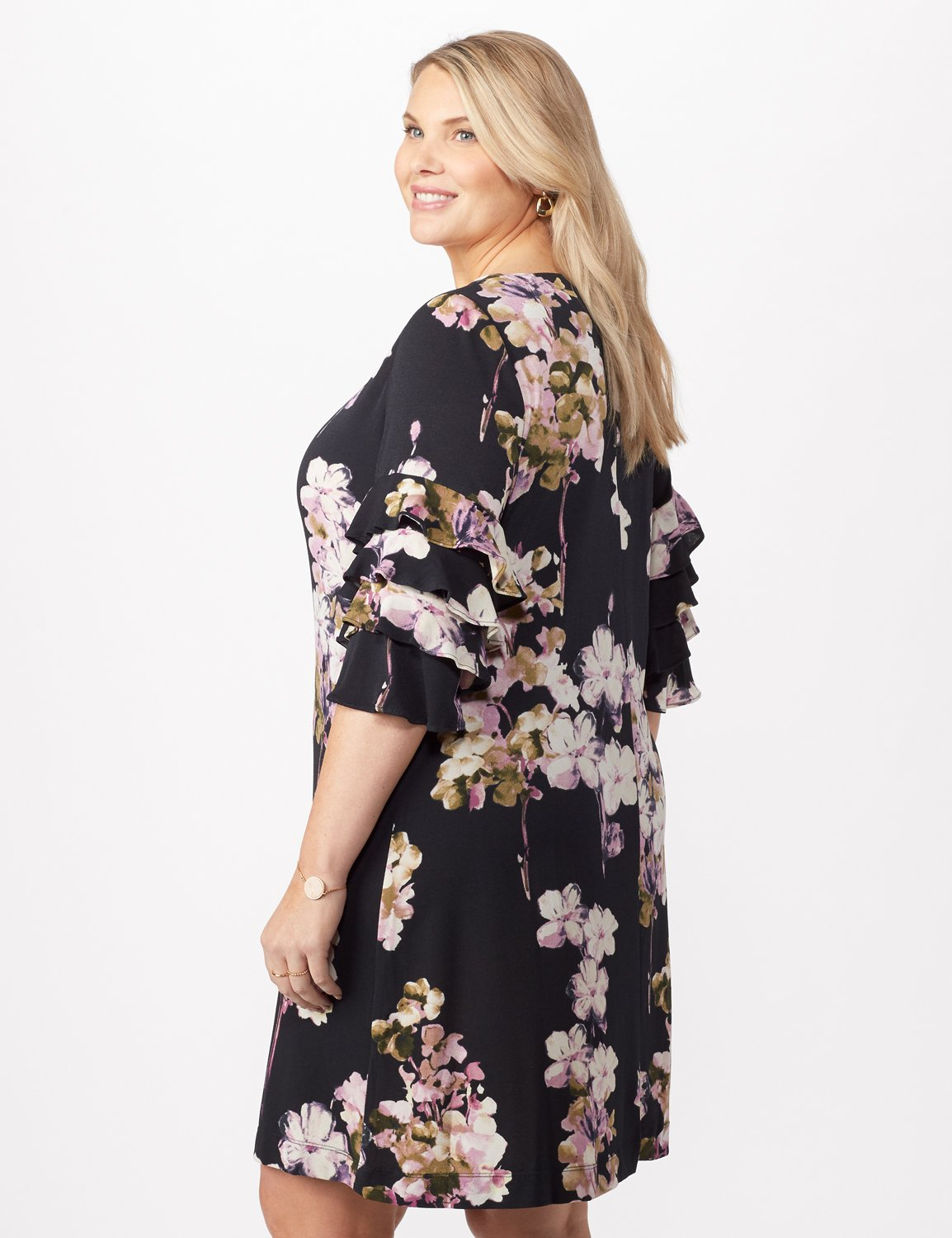 Chacha Sleeve Knit Crepe Floral Sheath Dress Plus -Navy/lavender - Back