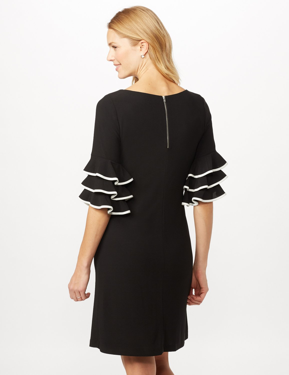 Ruffle Chacha Sleeve Sheath Dress -Black/ivory - Back