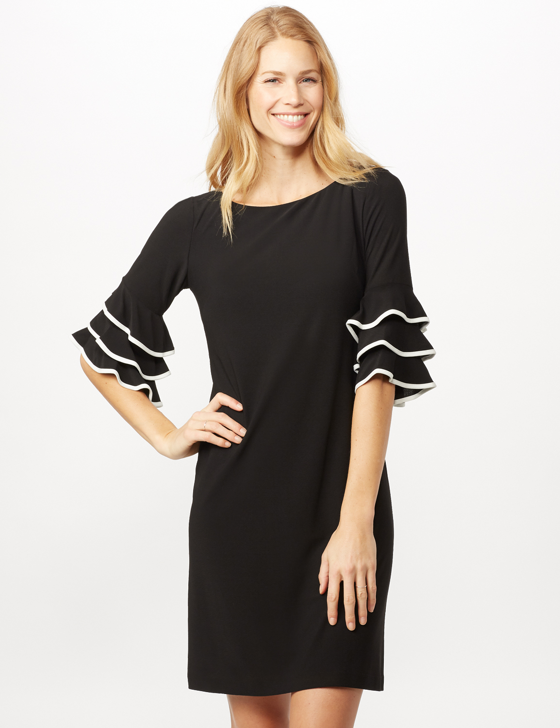 Ruffle Chacha Sleeve Sheath Dress -Black/ivory - Front