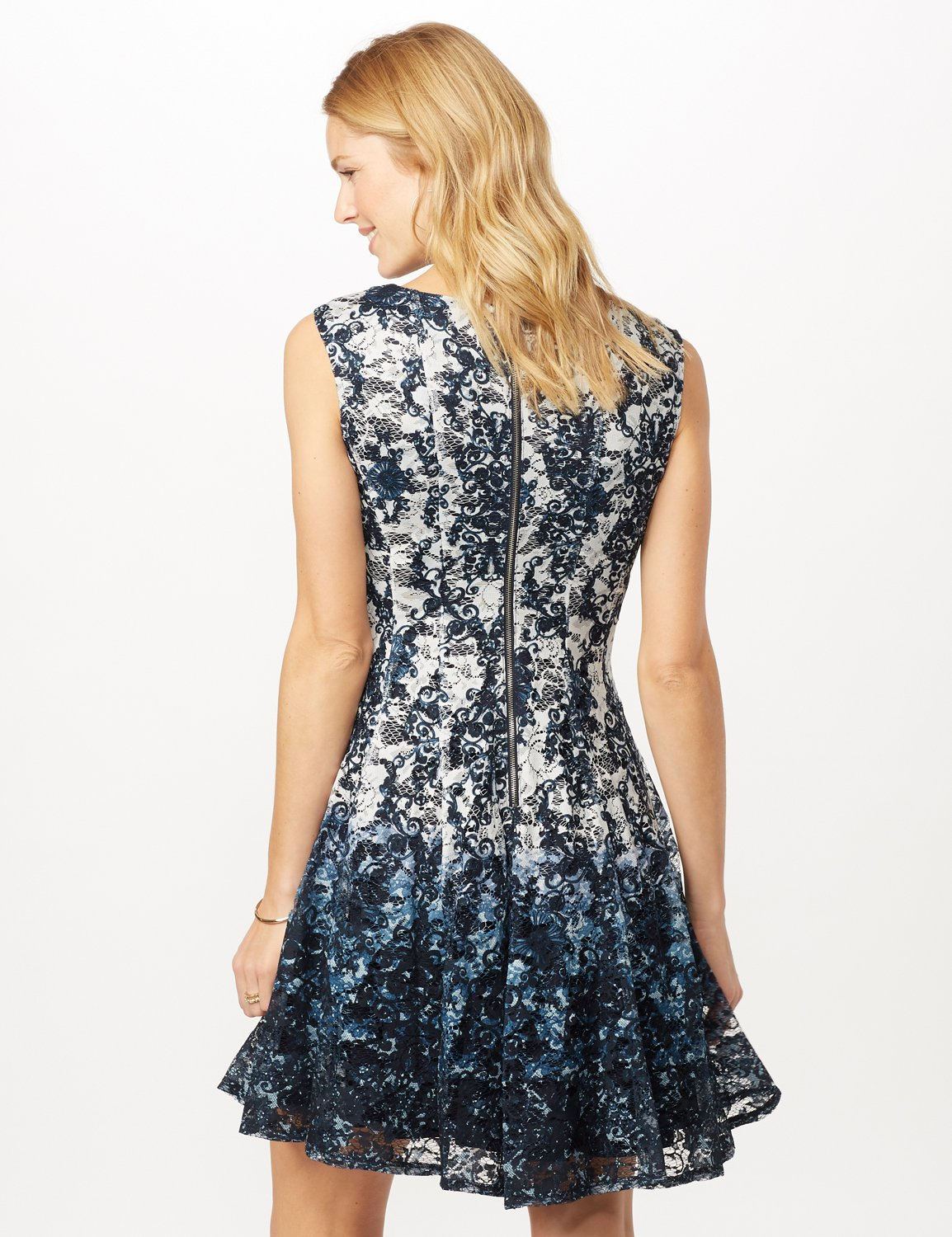 Sleeveless Printed Lace Fit and Flare Dress -Pearl/navy - Back