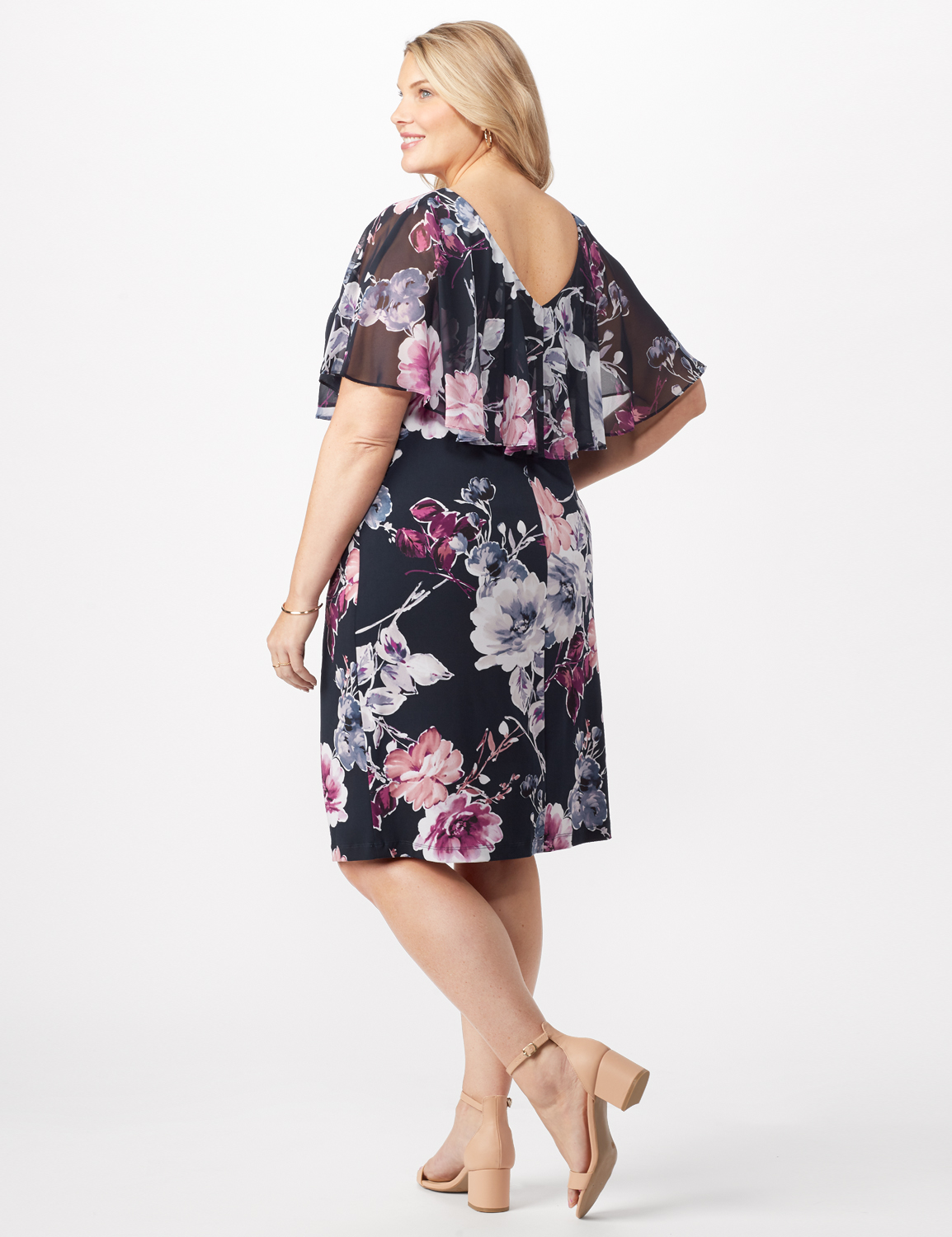 Floral Dress with Chiffon Cape Plus -Navy - Back