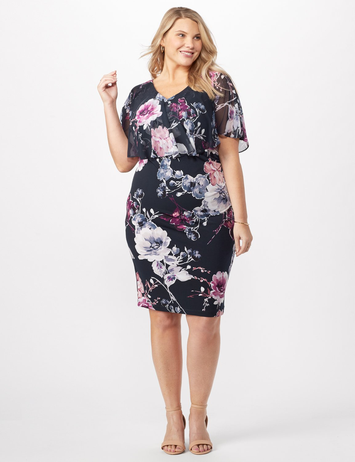 Floral Dress with Chiffon Cape Plus -Navy - Front