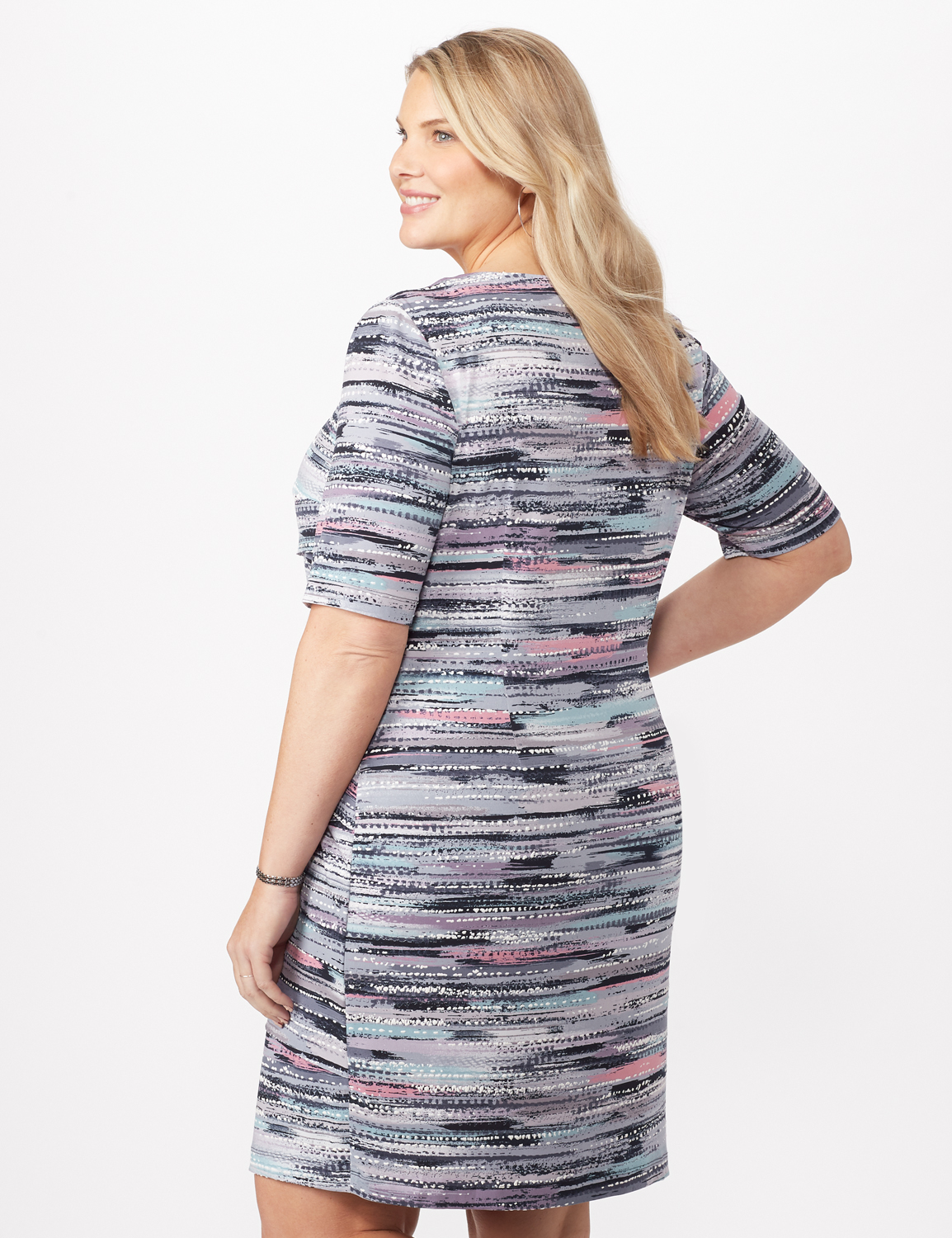 Puffed Stripe Tiered Dress -Periwinkle - Back