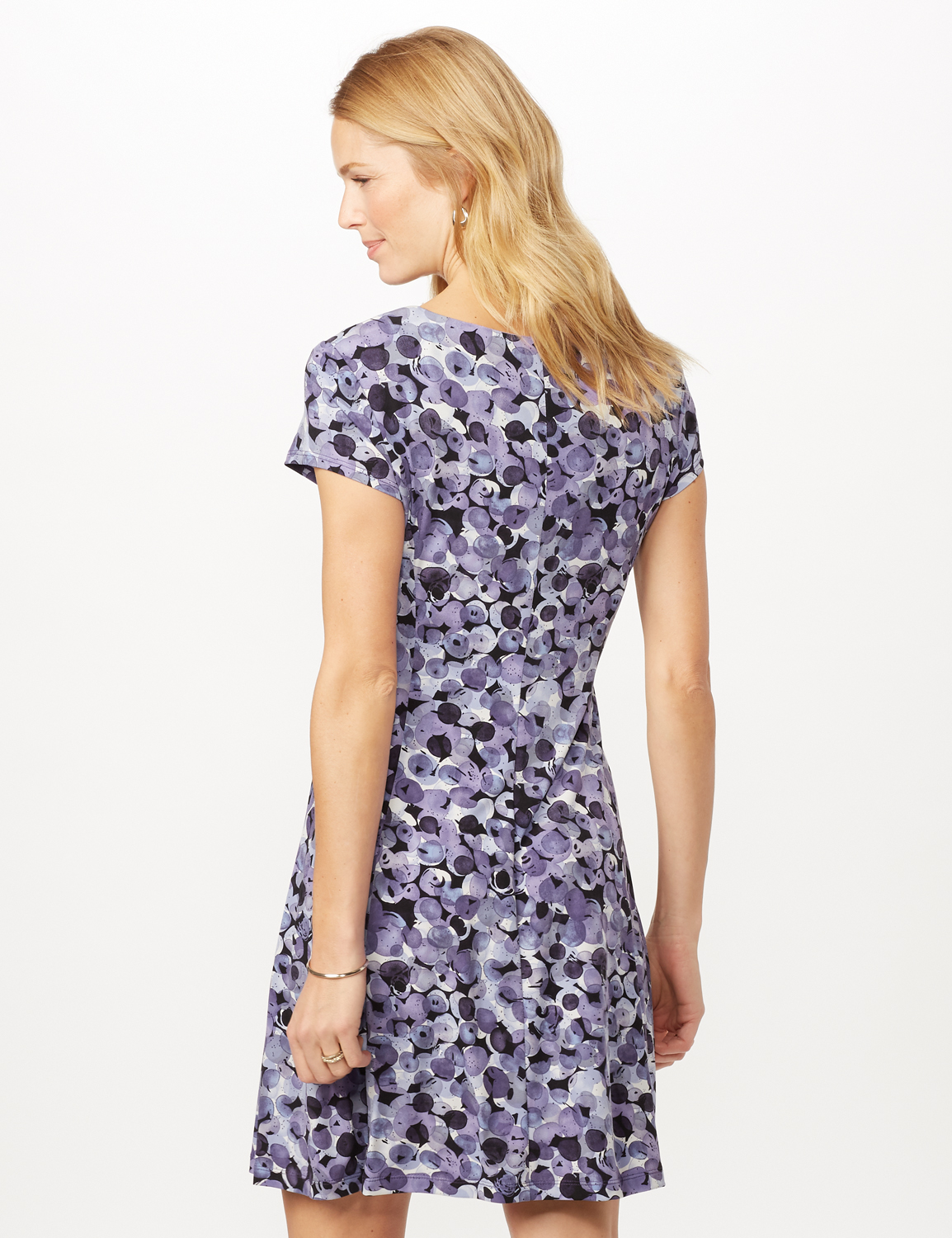 Bubble Dot Dress with Seam Detail -Lilac - Back