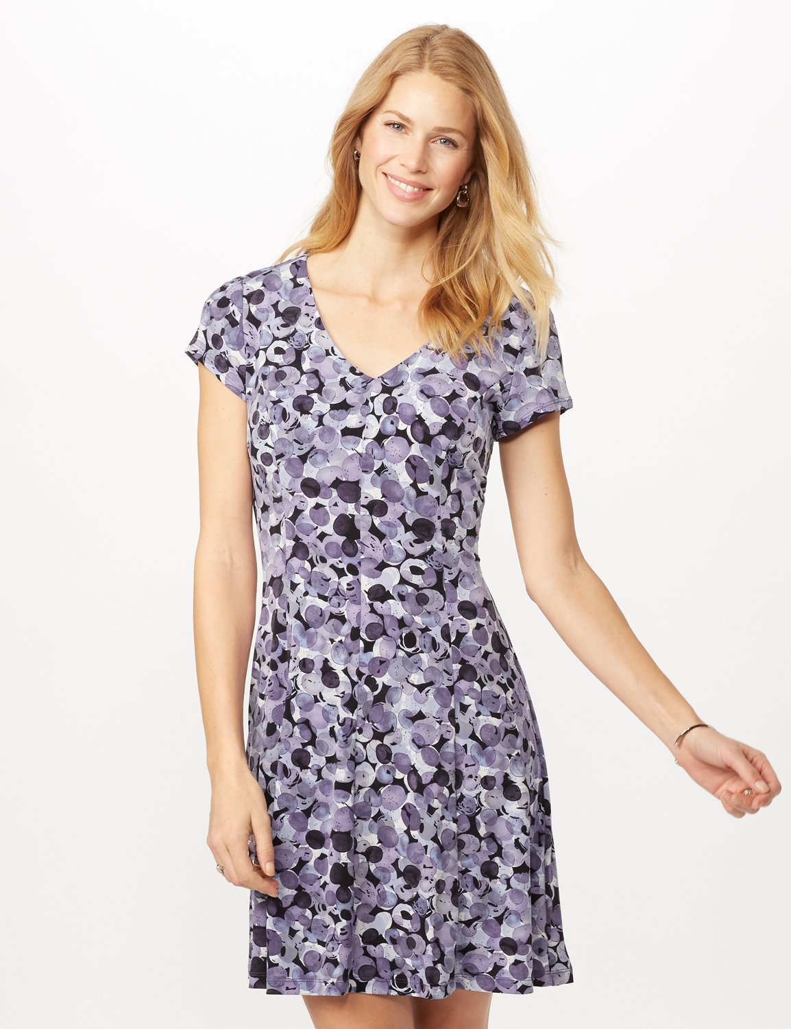 Bubble Dot Dress with Seam Detail -Lilac - Front