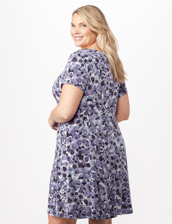 Bubble Dot Dress with Seam Detail Plus -Lilac - Back