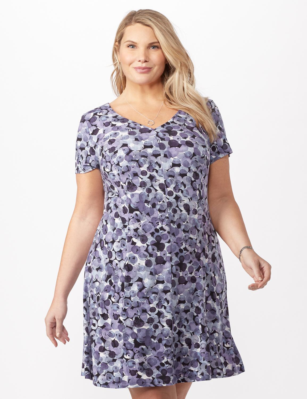 Bubble Dot Dress with Seam Detail Plus -Lilac - Front