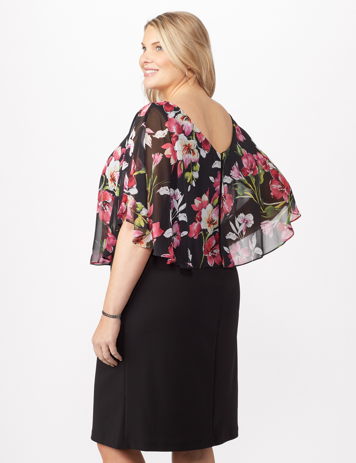 Solid Crepe Dress with Floral Cape -Fuschia - Back