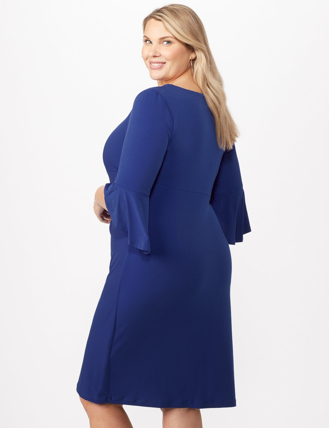 3/4 Wrap Dress with Side Ruching -Royal - Back
