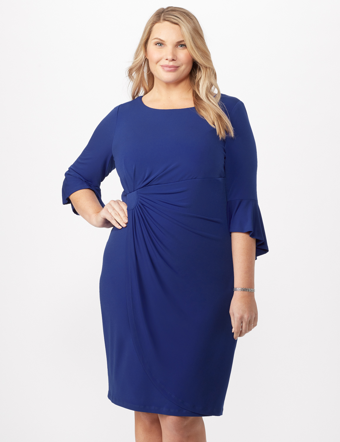 3/4 Wrap Dress with Side Ruching -Royal - Front