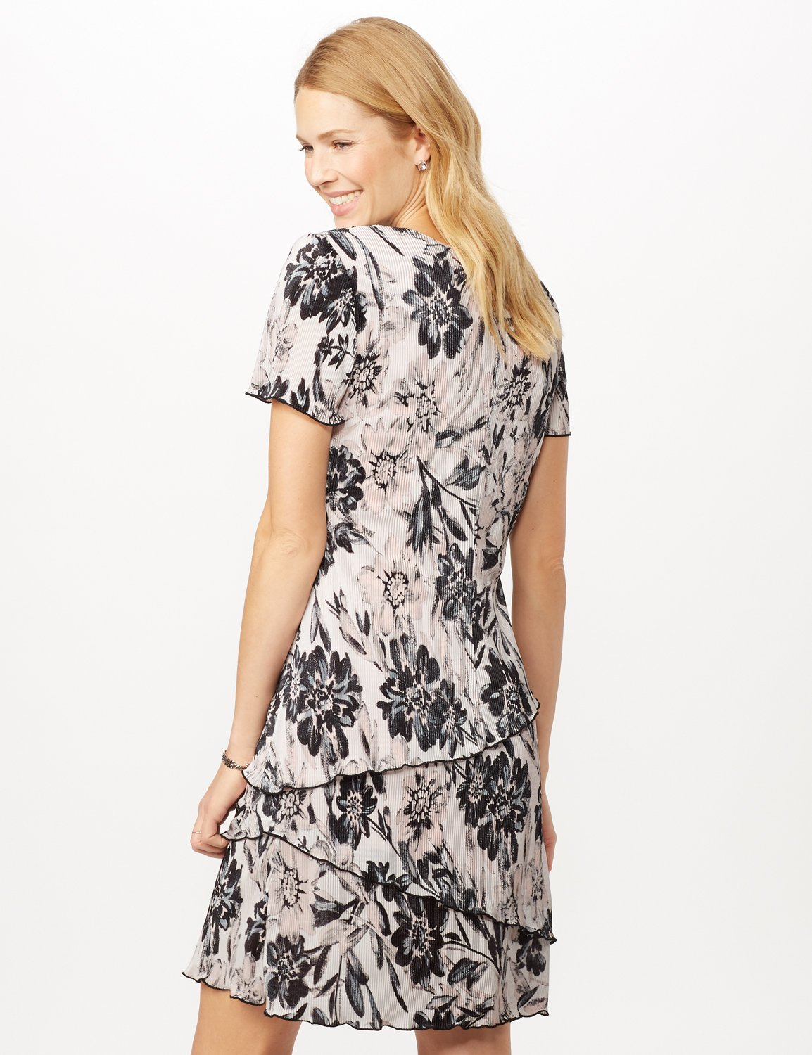 Floral Bodre Tier Dress -White/black - Back