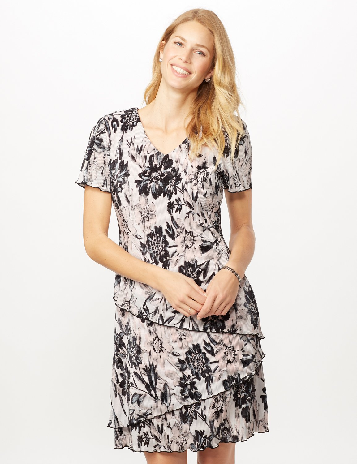 Floral Bodre Tier Dress -White/black - Front
