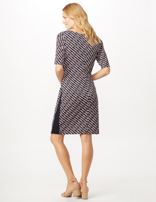 Geometric Side Wrap Dress -Mauve - Back