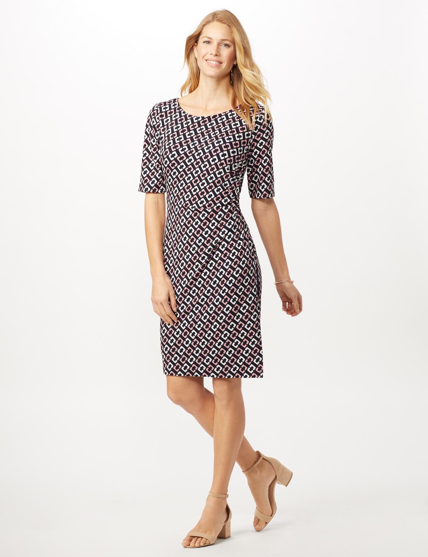 Geometric Side Wrap Dress -Mauve - Front