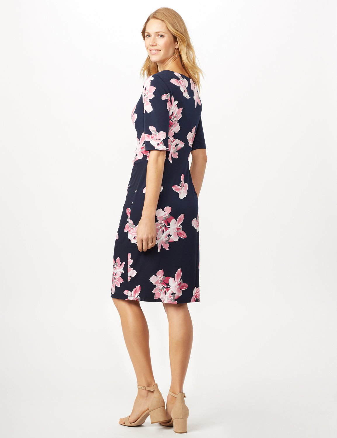 Pink Floral Dress with Side Ruch -Navy/ Mauve - Back