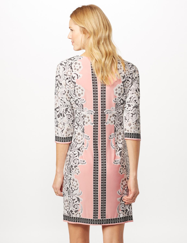 Placed ITY Puff Print Dress -Blush/ivory - Back