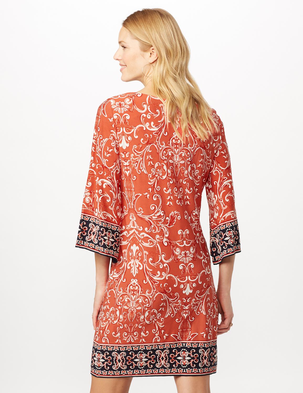 Scroll Puff ITY Border Print Dress -Orange - Back
