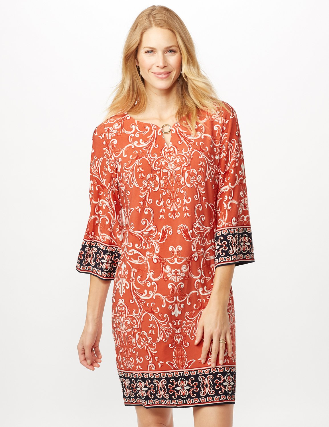 Scroll Puff ITY Border Print Dress -Orange - Front